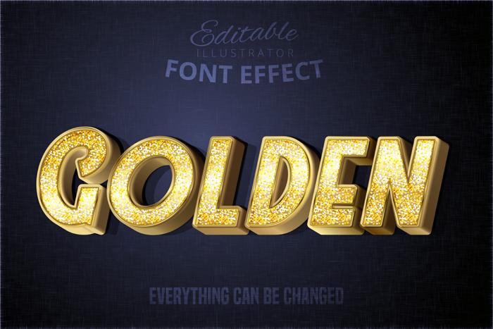 Glitch Golden Text Effect Sparkly Textured Gold Alphabet Style