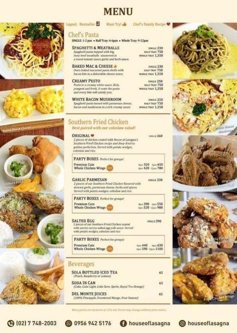 House of Lasagna's menu of rice and fried chicken meals and chef's pasta