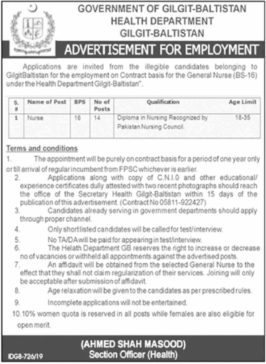 Health Department Gilgit Baltistan Jobs