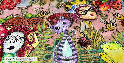 Close up view of the finished art journal page by Jenny James