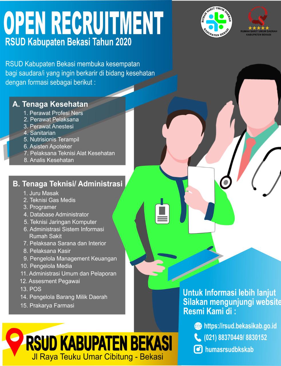 Lowongan Kerja Rekrutmen Rsud Kabupaten Bekasi Tahun 2020