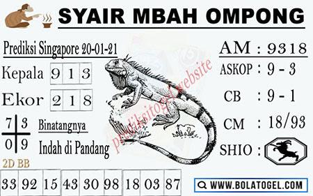 Syair Mbah Ompong SGP Rabu 20 Januari 2021