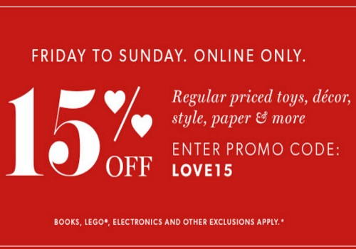Chapters Indigo Valentine's Day 15% Off Promo Code