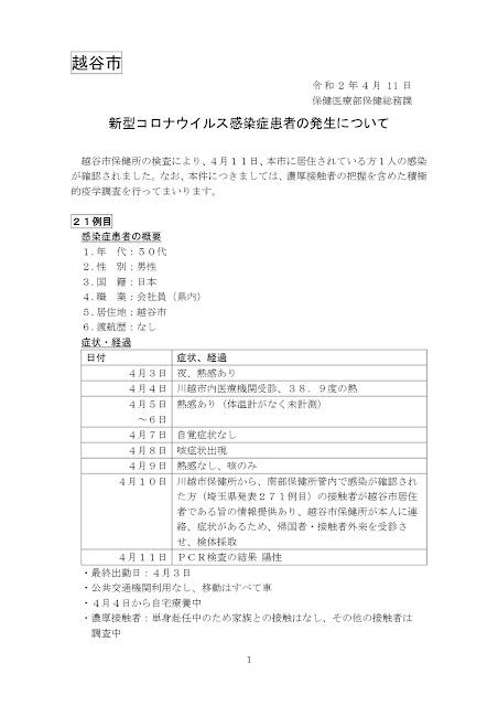 新型コロナウイルス感染症患者の発生について(4月11日発表)