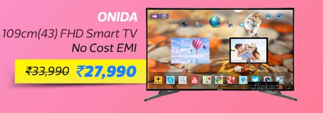 Onida 109.22cm (43 inch) Full HD LED Smart TV (43 FIS) @ ₹27,990/- + 10% Instant Discount on SBI Debit & Credit Cards