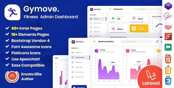 Best Fitness Admin Dashboard Laravel Bootstrap Template