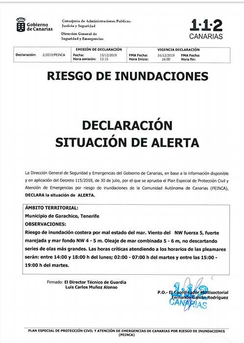 Alerta por riesgo de inundaciones en Garachico, Tenerife