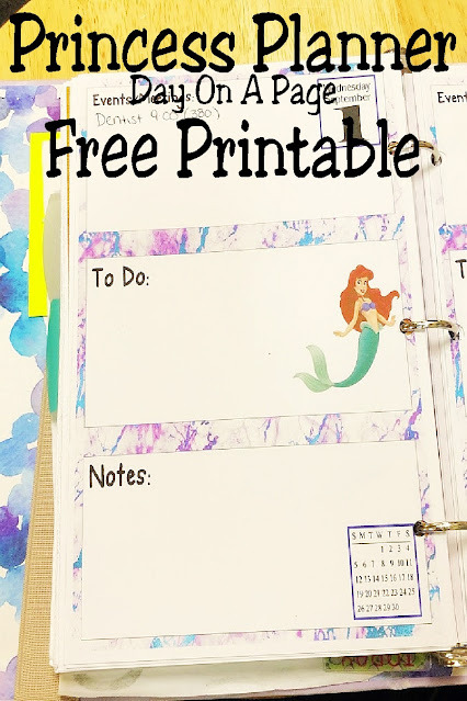 Plan out your month with this fun Princess printable planner with one day on a page. Each day features a place to put the date, your events, your to do list, and any notes along side your favorite princess in a beautiful pastel swirl background. Get this free planner printable today and get royally organized this month!