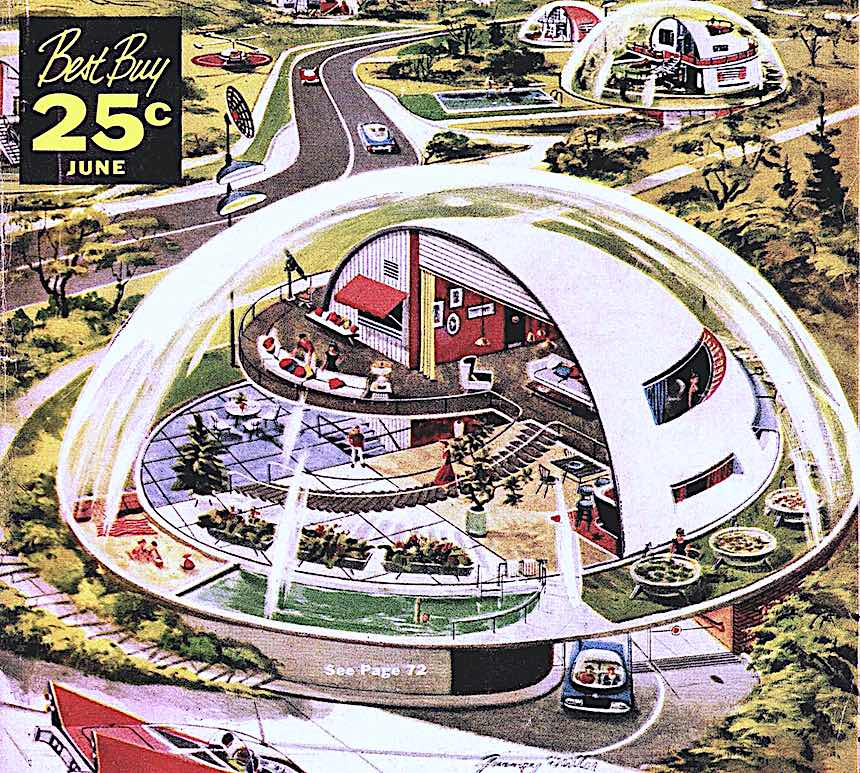 1957 future homes illustration, living in a bubble