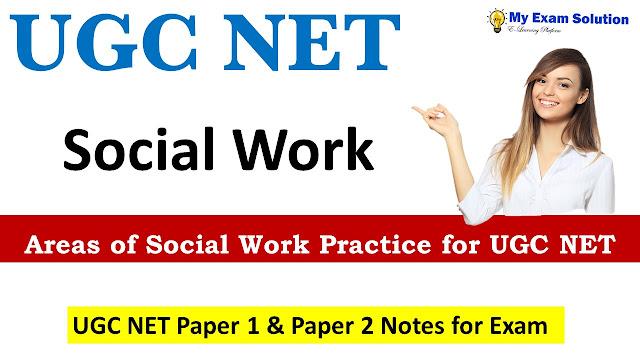 Areas of Social Work Practice for UGC NET; UGC NET social work