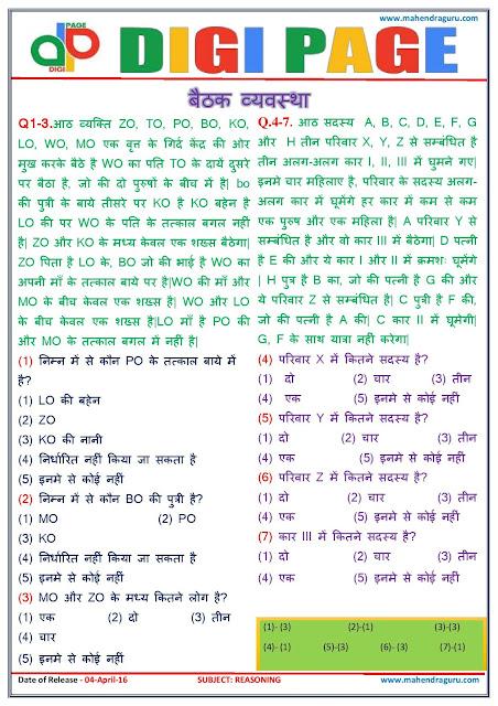 reasoning questions in hindi pdf
