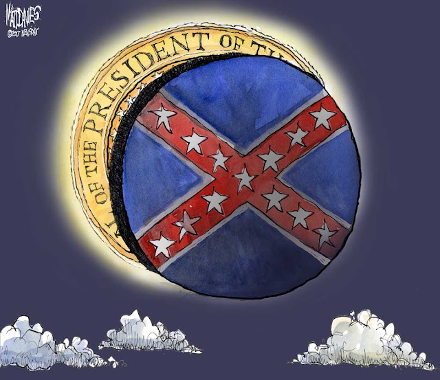 Moon bearing the Stars and Bars eclipses sun bearing U. S. Presidential Seal.