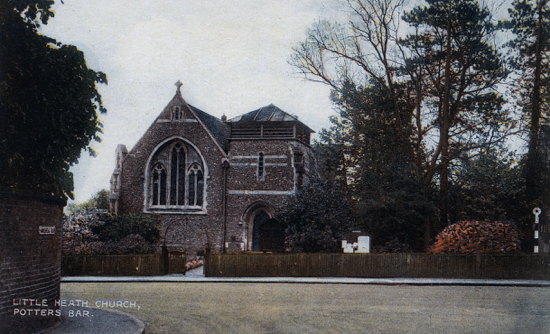 Postcard of Christ Church, Little Heath in the 1940s. Image from The Peter Miller Collection