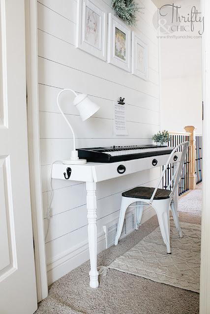 DIY piano stand. Built in piano stand tutorial. How to make a piano stand. DIY built in work station. DIY built in desk. DIY console table. Long hallway ideas. DIY storage desk tutorial.