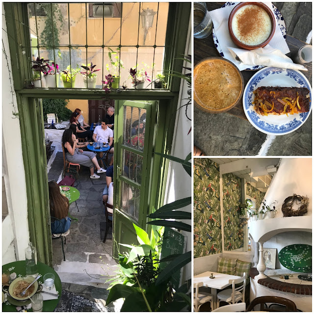 Dining and desserts at cafe and restaurant Yiasemi in the old part of Athens in Greece