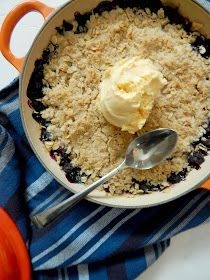 Skillet Blueberry Cobbler for Two...a great dessert for lovebirds! Or for just a few friends to share. Juicy blueberries are hidden under a decadent cobbler topping.  Serve warm with vanilla ice cream! (sweetandsavoryfood.com)