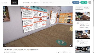 Virtual room with footprint icons in lower right corner of the virtual floor.