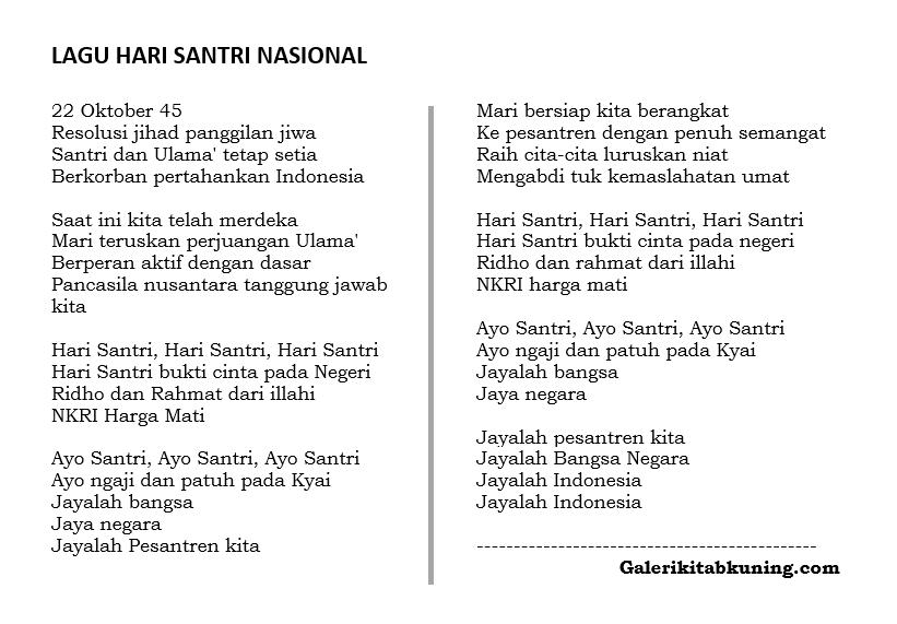 Teks Lagu Hari Santri Nasional