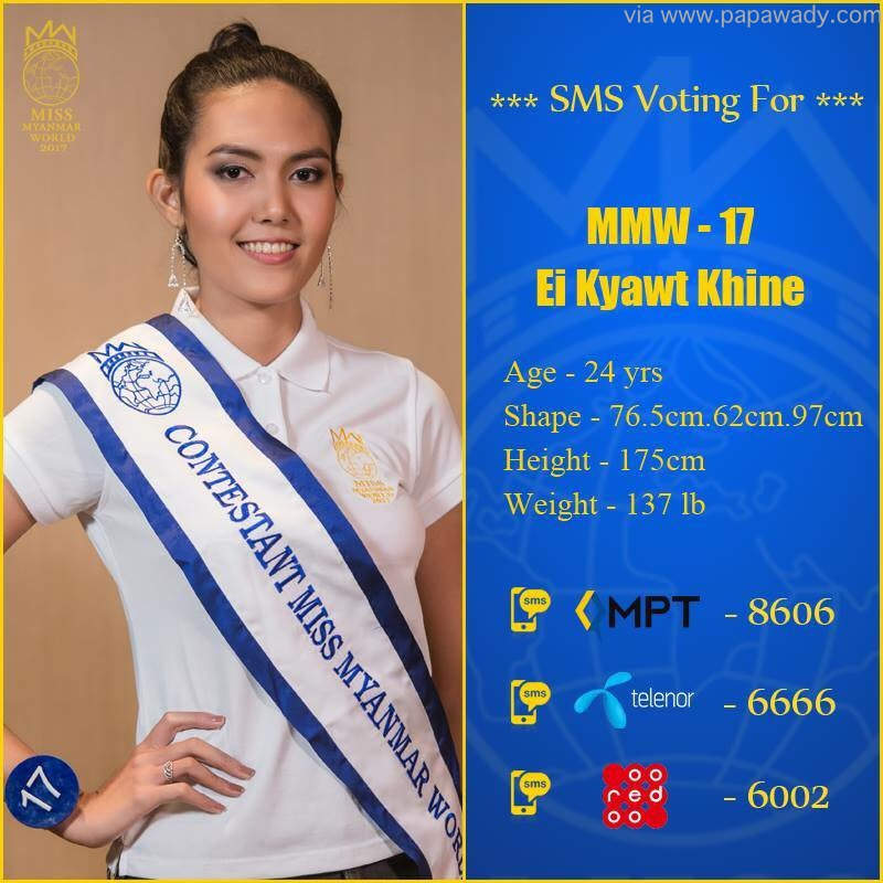 Miss Myanmar World 2017 Winner Ei Kyawt Khine