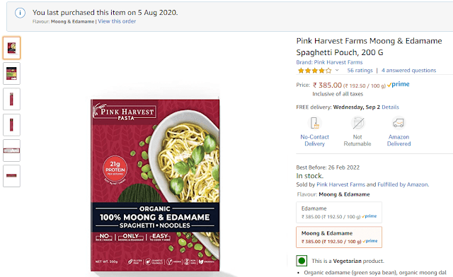 Review of Pink Harvest Farms Moong & Edamame Spaghetti Pouch, 200 G