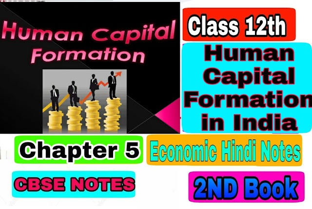 12th class economic Chapter - 5 Human Capital Formation in India notes in Hindi medium