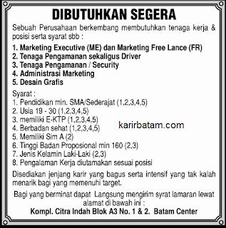 Lowongan Kerja Marketing Executive dan Administrasi Batam