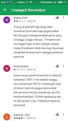 Tanggapan pengguna di Playstore (1)