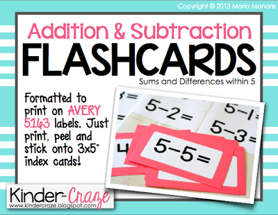 freebielicious addition and subtraction flashcard labels. Black Bedroom Furniture Sets. Home Design Ideas
