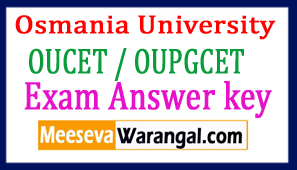 OUCET / OUPGCET Exam Answer key 2017