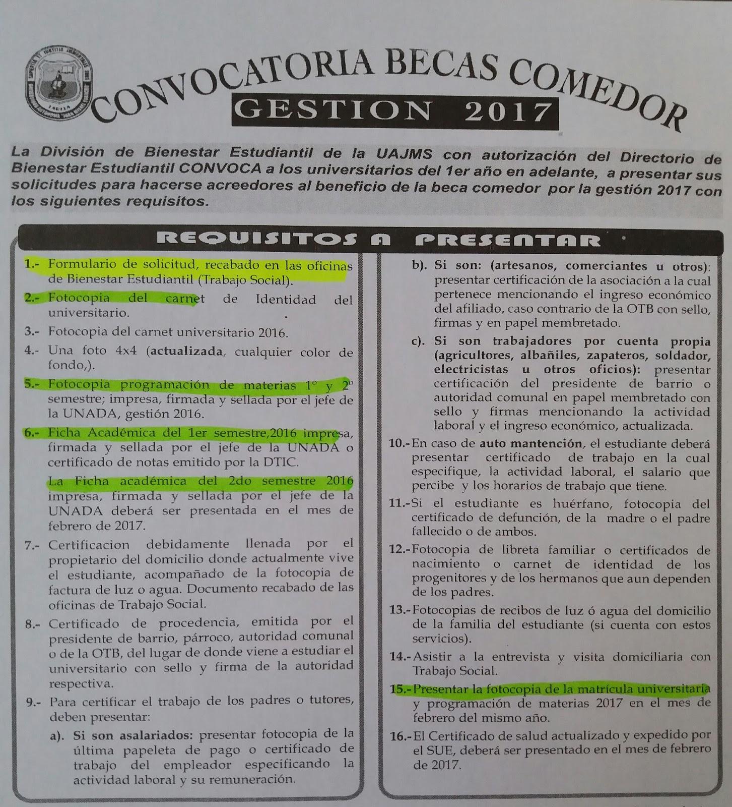 Lanzan convocatoria para becas comedor para la gestión 2018 con ...