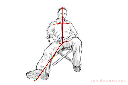 Step 2 - How to Draw a Seated Person for Beginners Easy Step by Step