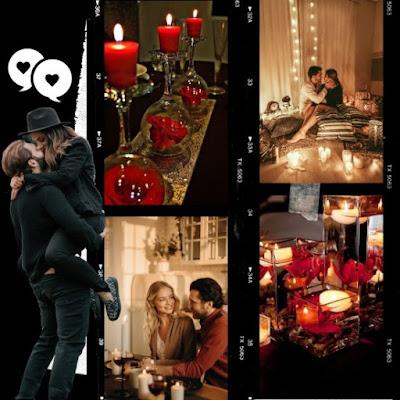 Decoración de San Valentín con velas y luces