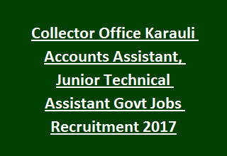 Collector Office Karauli Accounts Assistant, Junior Technical Assistant Govt Jobs Recruitment Notification 2017