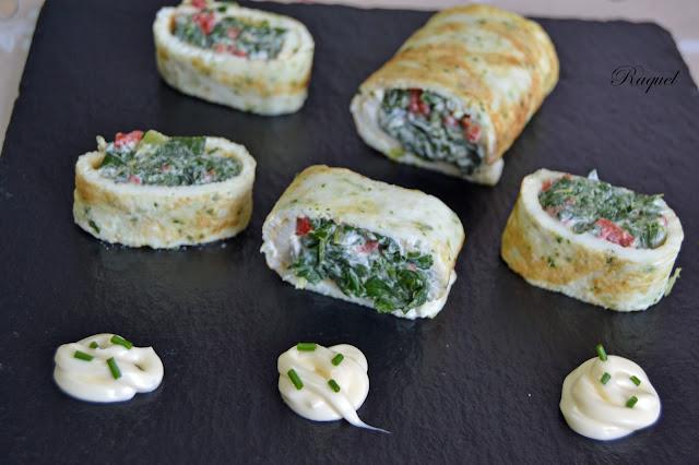 Rollitos de acelgas con queso crema y pimiento asado