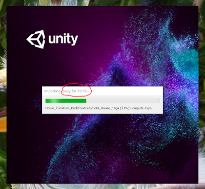 """A screenshot showing the Unity opening progress bar; it says """"Busy for 19:16"""" and it's about a third of the way done."""