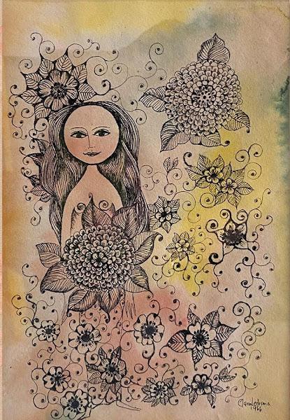 Mujer con flor (dalia), Clara Ledesma, 1966