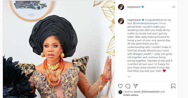 Pretender, She is trying to steal her Husband- Fans slams Rosy Meurer for congratulating Toyin Lawani over her marriage