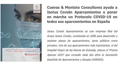 Trabajo por el que Cuevas y Montoto Consultores ayuda a Isolux Corsán Aparcamientos a implantar un Protocolo de Actuación ante la COVID-19 en todos los aparcamientos que gestiona en España