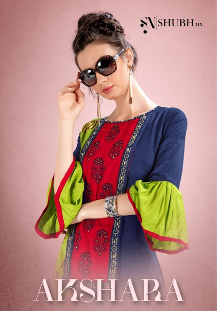 Shubh nx Akshara Rayon Embroidered kurtis wholesaler