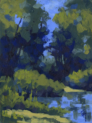 nature acrylic landscape painting art pond