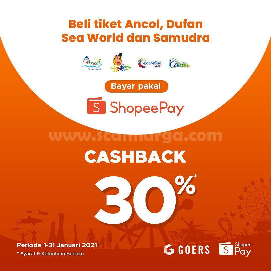 ANCOL Promo CASHBACK 30% khusus transaksi dengan SHOPEEPAY hingga 31 januari 2021