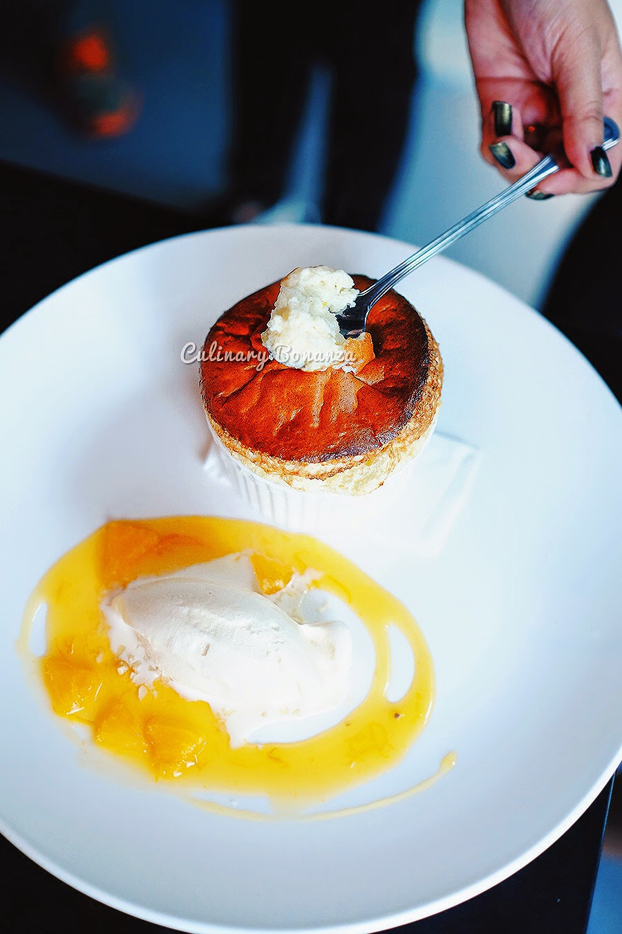 Orange Souffle - orange zest, segment orange and Haagen Dazs ice cream