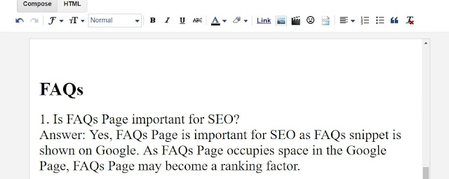 How to add FAQ in Blogger