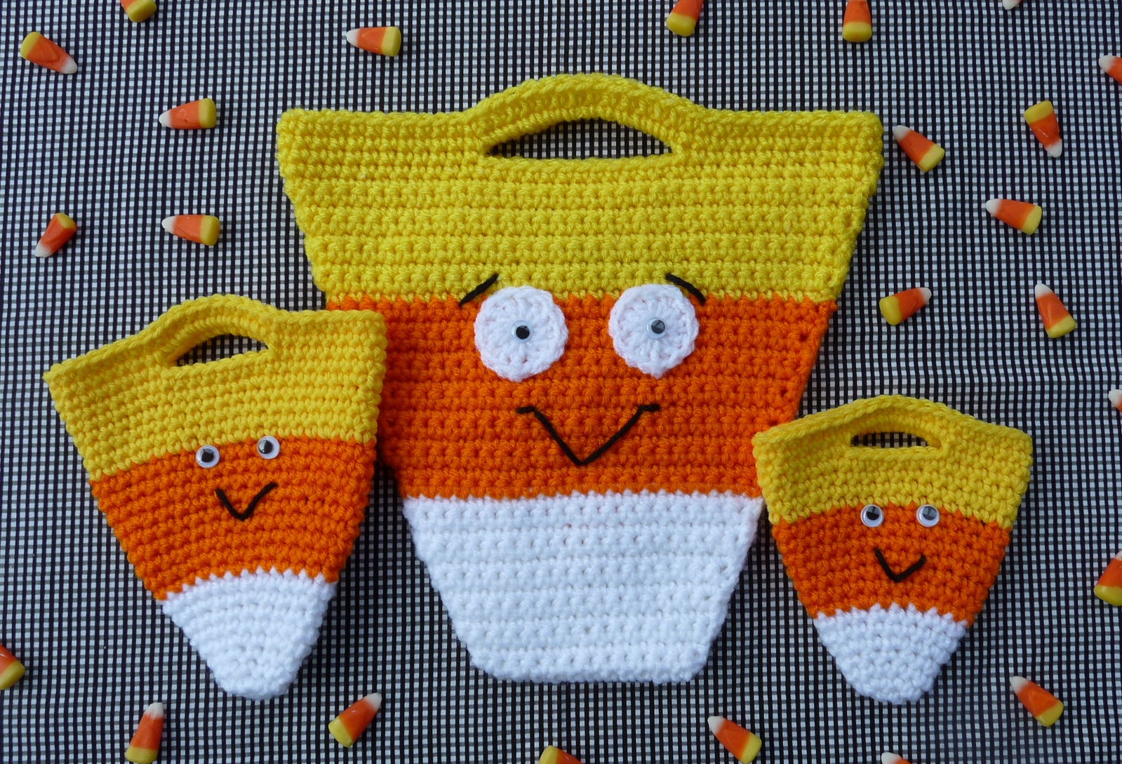 Large candy corn treat bag: Whiskers Wool Candy Corn Halloween Bag Set New Crochet Pattern In Shop