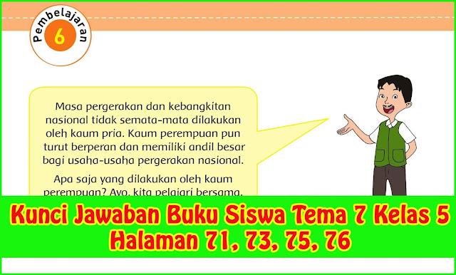 kunci jawaban tema 7 kelas 5 subtema 1 pembelajaran 6