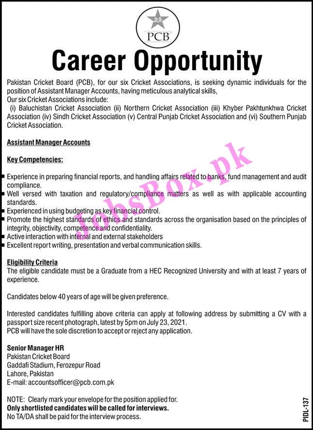 Pakistan Cricket Board PCB Jobs 2021 in Pakistan - www.pcb.com.pk Jobs 2021