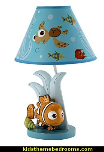 Disney Finding Nemo Lamp Base and Shade  under the sea baby bedroom decorating ideas - ocean theme baby bedroom ideas - under the sea nursery decorating - under the sea wall murals - ocean wall decal stickers - fish theme - beach theme - mermaid theme ocean themed nursery girl