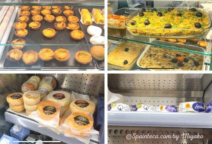 アンチョビとチーズとお惣菜が並ぶマドリードの市場のポルトガル食材店