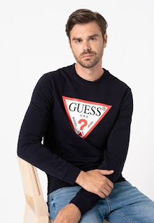 Guess Jeans - Мъжки Суитшърт с овално деколте