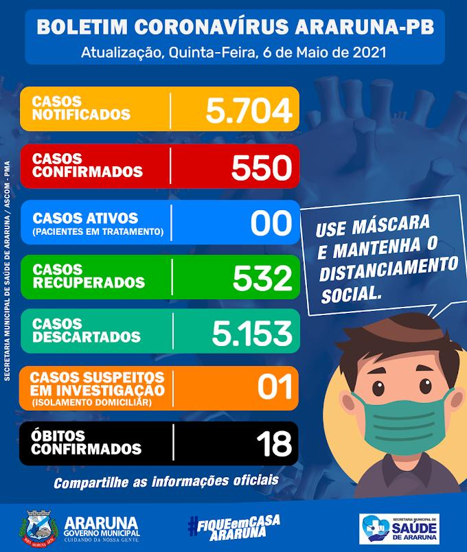 Araruna zera número de casos ativos da Covid-19 e intensifica vacinação em idosos